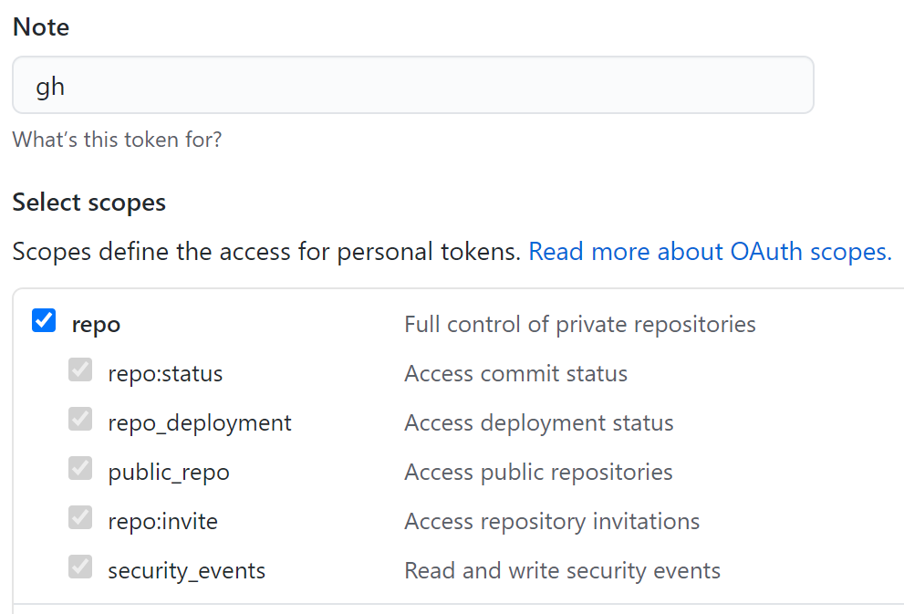 Personal access token screen